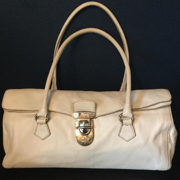 beebeecb8c4 Authentic Prada Cream Vitello Leather Shoulder Bag.  M 5bdcadaac61777fab6d32124